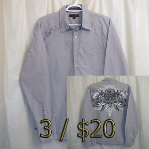 G by Guess Button Front Shirt Men's Medium M Gray